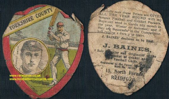 1905 Ernest Smith Yorkshire Cricket bowler Baines cricketing card